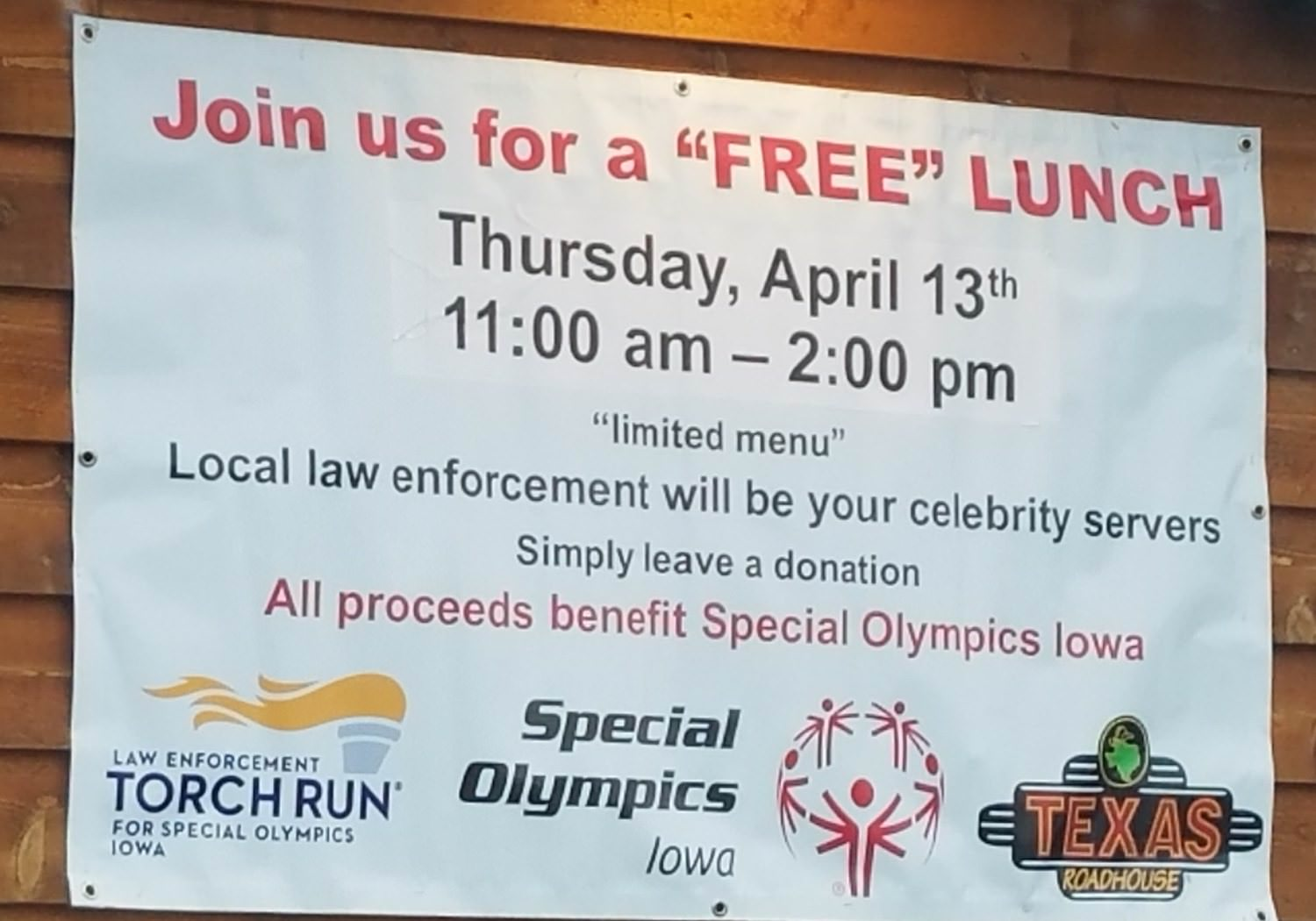 Free Lunch served by local law enforcement at Texas Road House