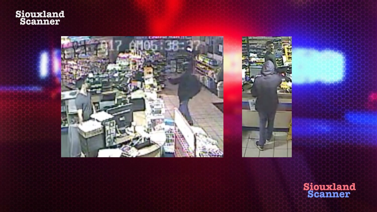 Surveillance video from armed robbery on Floyd Boulevard in Sioux City Wednesday