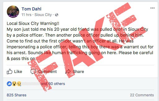 Fake post spreading around about cop impersonator in Sioux City is not real