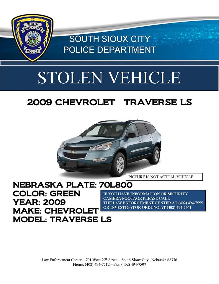 STOLEN Green 2009 Chevrolet Traverse from East 14th and F St South Sioux City