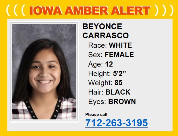 Cancelled  Iowa Amber Alert Missing 12-year-old female from Denison Iowa