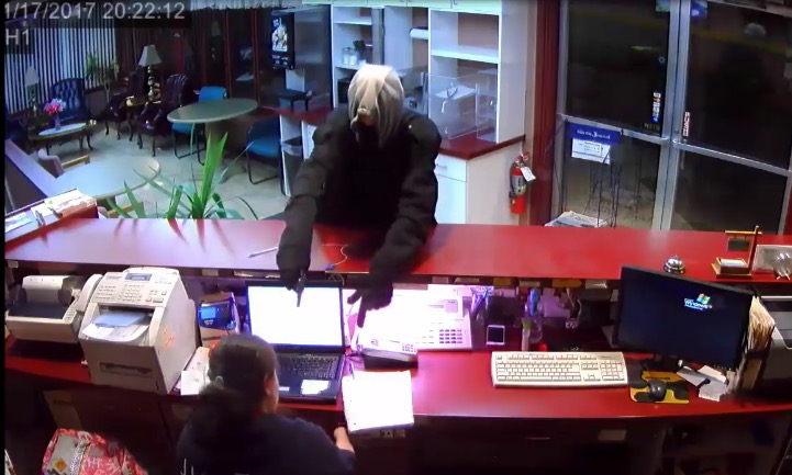 Armed Robbery Surveillance video relased Palmer House Motel Sioux City