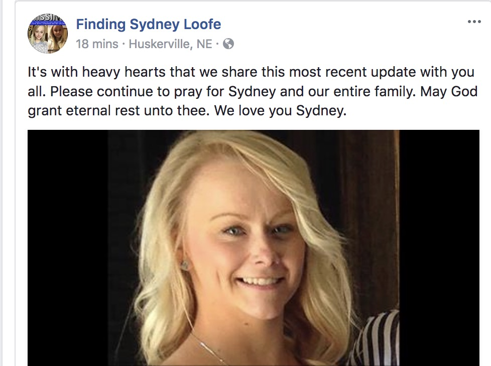 Remains of missing Lincoln Nebraska Sydney Loofe found after missing more than 2 weeks