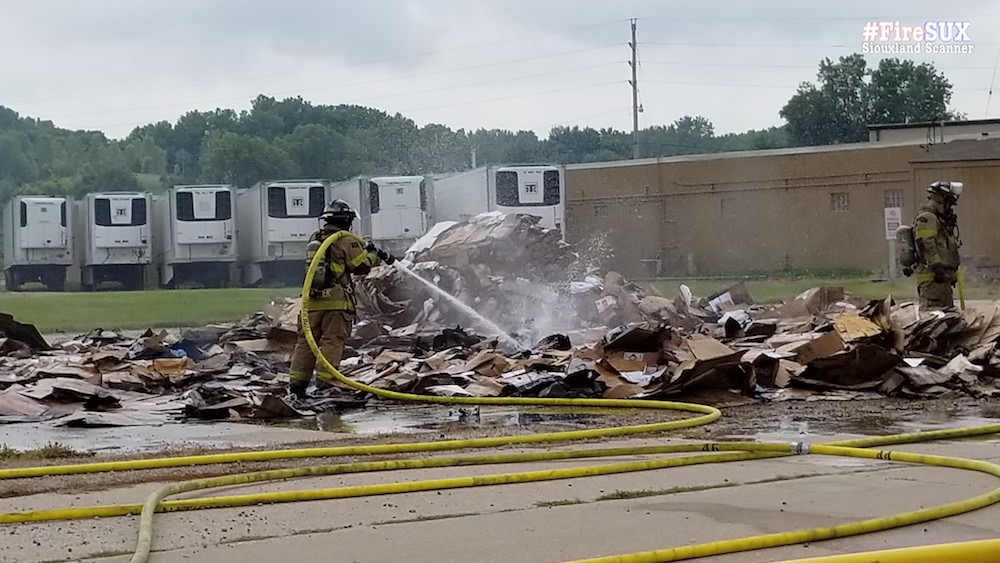Garbage truck fire just before noon Monday on Highway 75