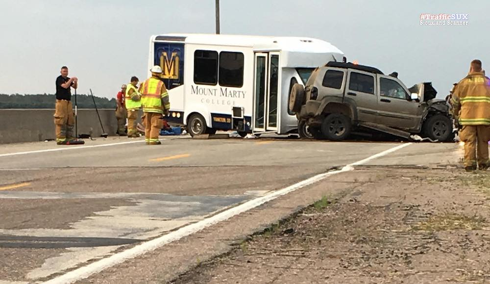 Mount Marty Golf Team bus crash on Highway 12 in Plymouth County