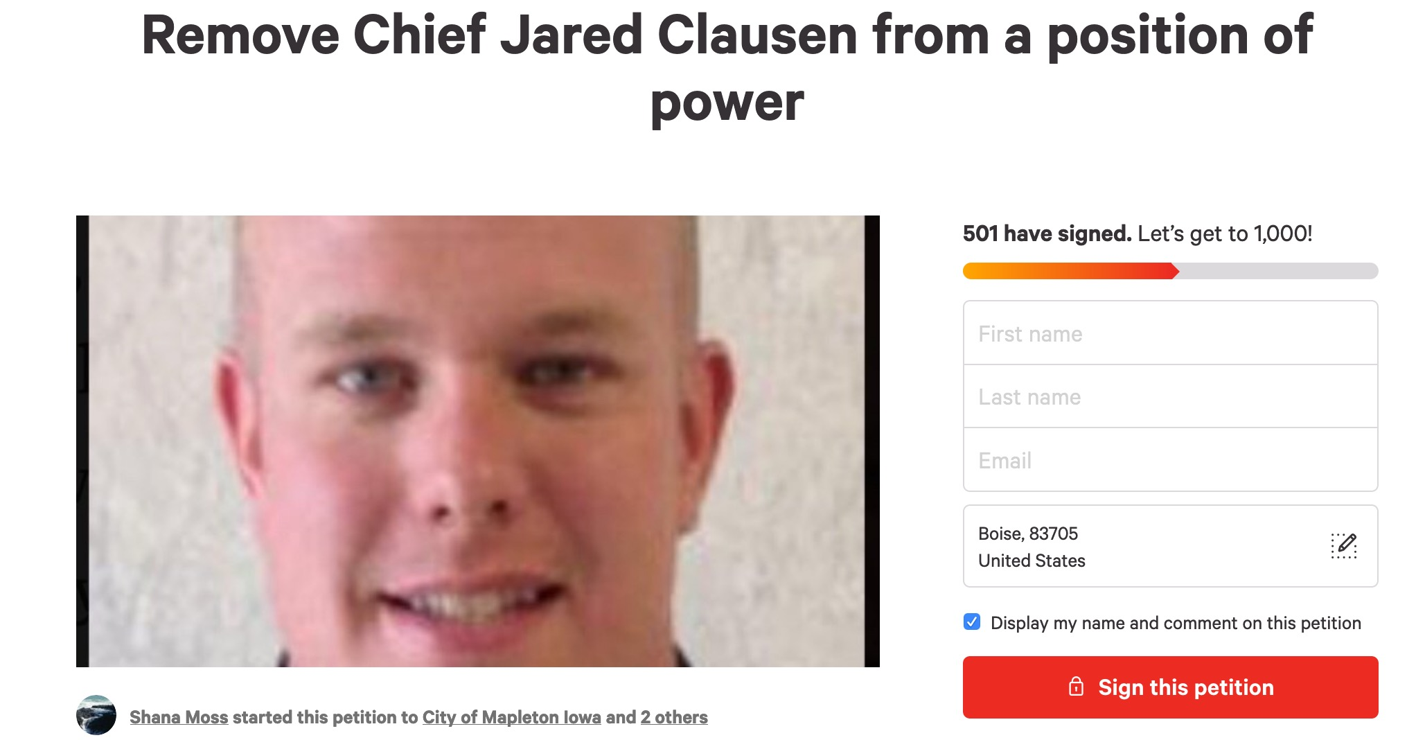 Online petition circulating to remove Mapleton Iowa Police Chief