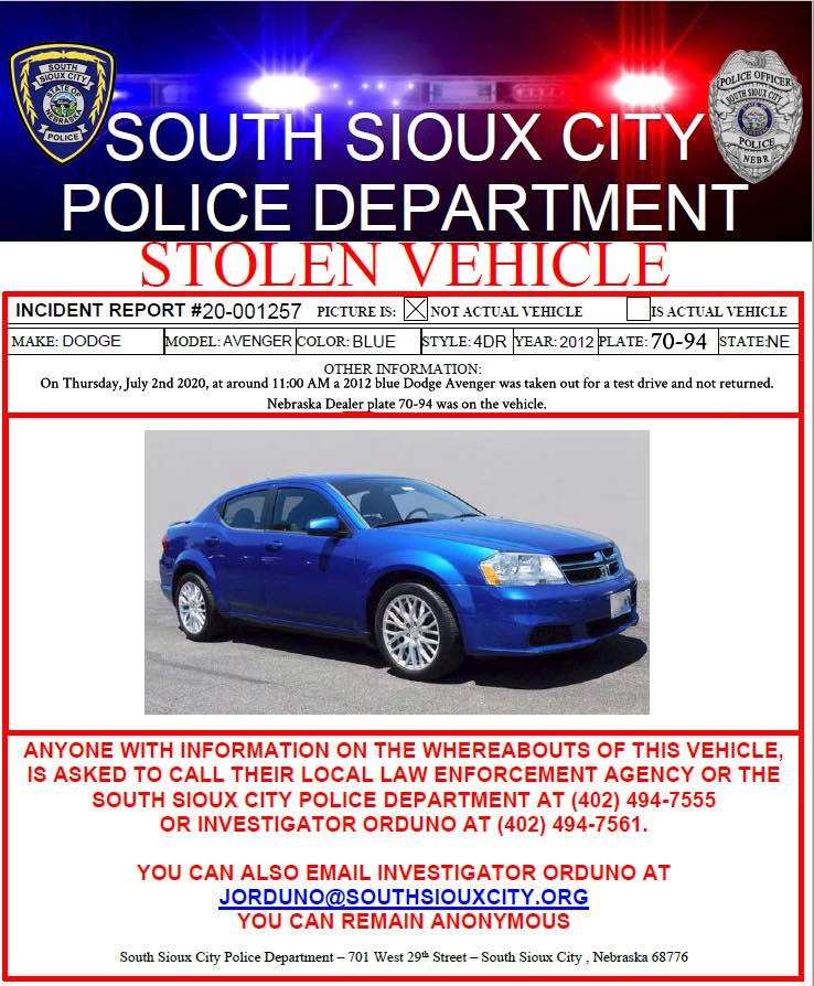 STOLEN 2012 Blue Dodge Avenger Out of South Sioux City