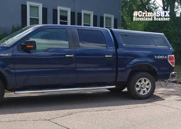 RECOVERED Blue 2011 Ford F150 with topper from Grandview Park area of Sioux City